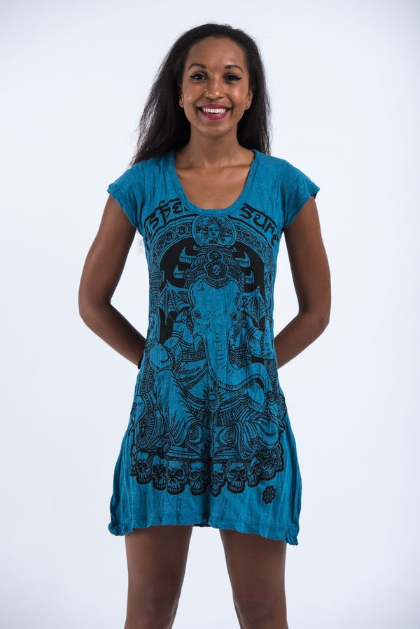 Sure Design Womens Batman Ganesh Dress Denim Blue