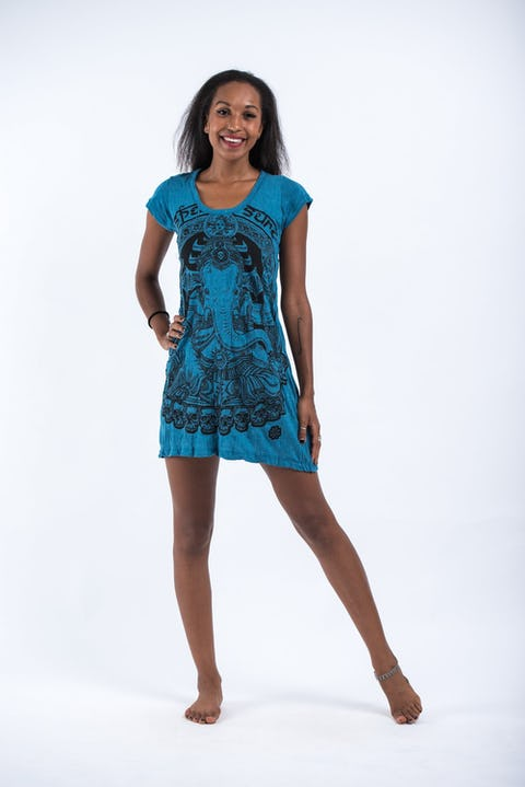 Womens Batman Ganesh Dress in Denim Blue