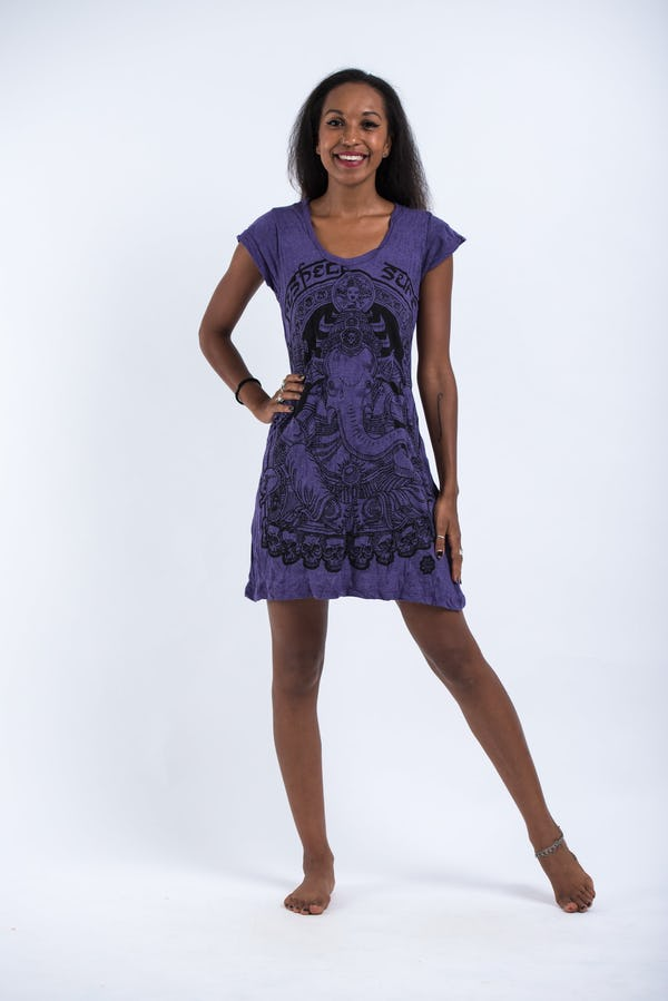 Sure Design Womens Batman Ganesh Dress Purple