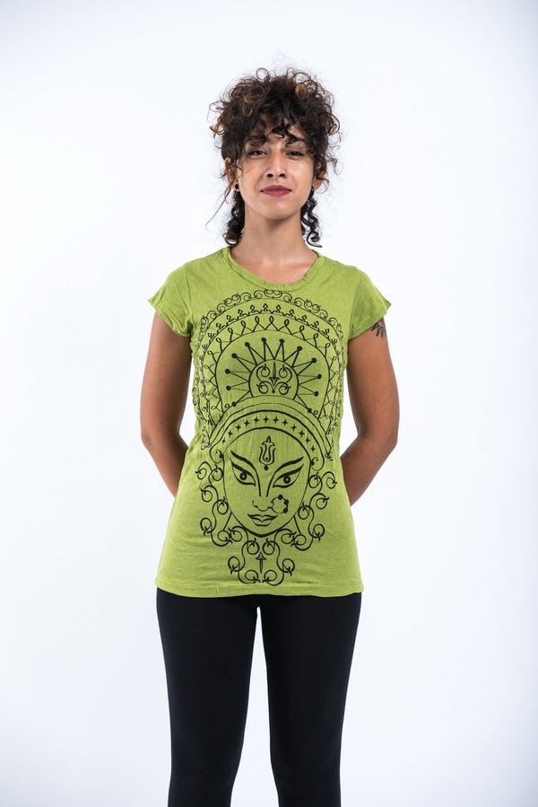 Sure Design Womens Durga Kali T-Shirt Lime