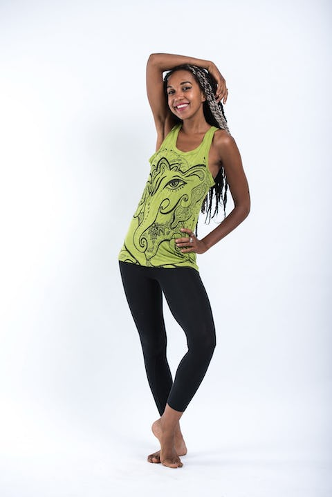 Sure Design Womens Cute Ganesh Tank Top Lime