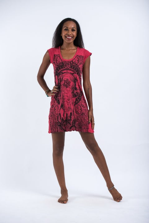 Sure Design Womens Wild Elephant Dress Red