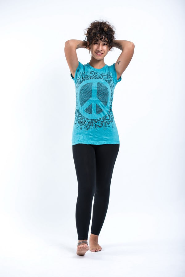 Sure Design Womens Peace Sign T-Shirt Turquoise