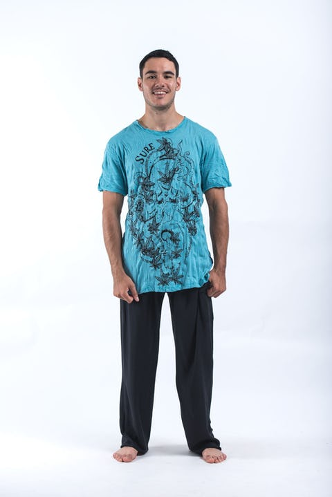 Sure Design Mens Octopus Weed T-Shirt Turquoise
