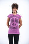 Sure Design Womens Peace Sign Infi T-Shirt Pink