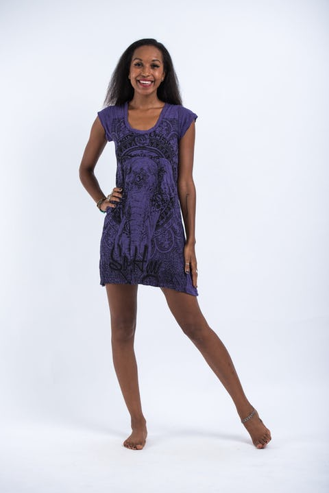 Sure Design Womens Wild Elephant Dress Purple