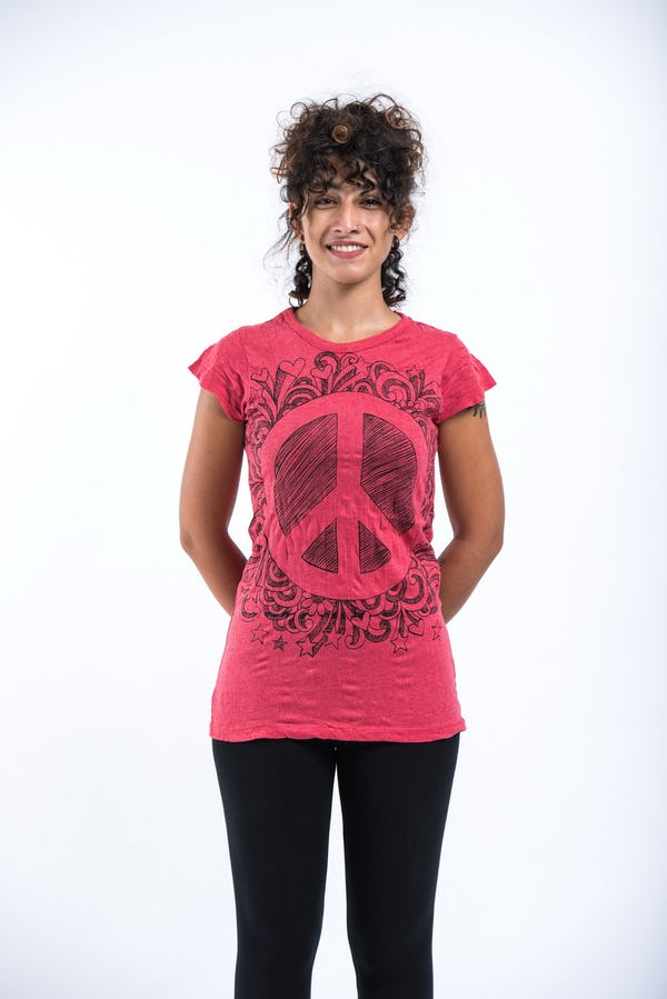 Sure Design Womens Peace Sign Infi T-Shirt Red