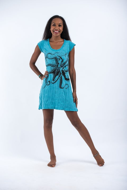 Sure Design Womens Octopus Dress  Turquoise