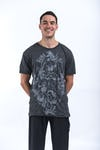 Mens Octopus Weed T-Shirt in Silver on Black