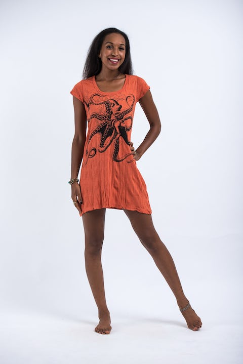 Womens Octopus Dress in Orange