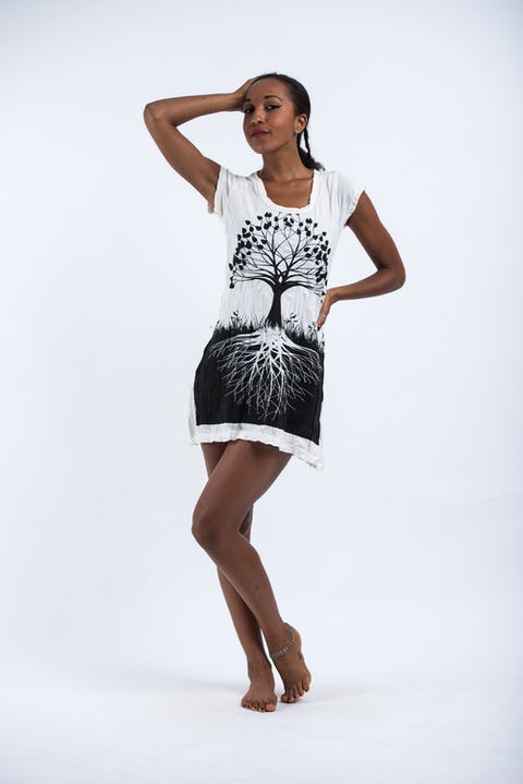 Sure Design Womens Tree of Life Dress White