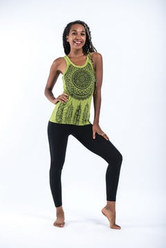 Womens Tree of Life Tank Dress in Lime