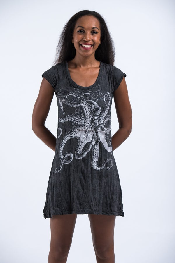 Sure Design Womens Octopus Dress  Silver on Black