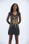 Sure Design Womens Octopus Dress  Gold on Black