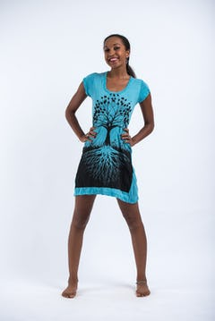 Sure Design Womens Tree Of Life Tank Dress Turquoise