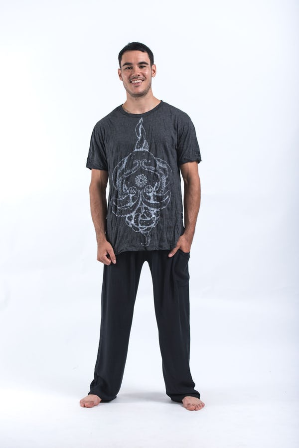 Sure Design Mens Octopus Mandala T-Shirt Silver on Black