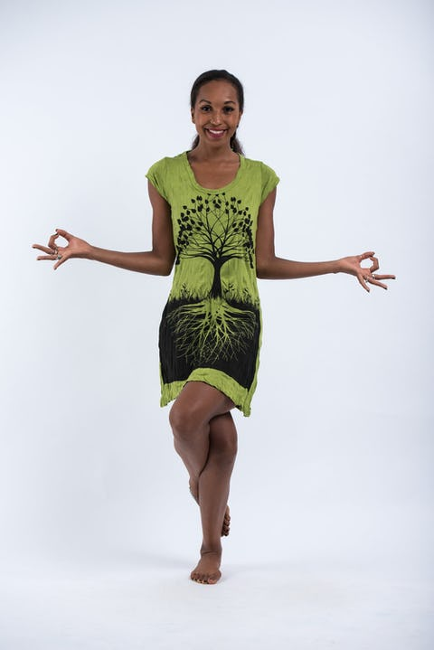 Womens Tree of Life Dress in Lime