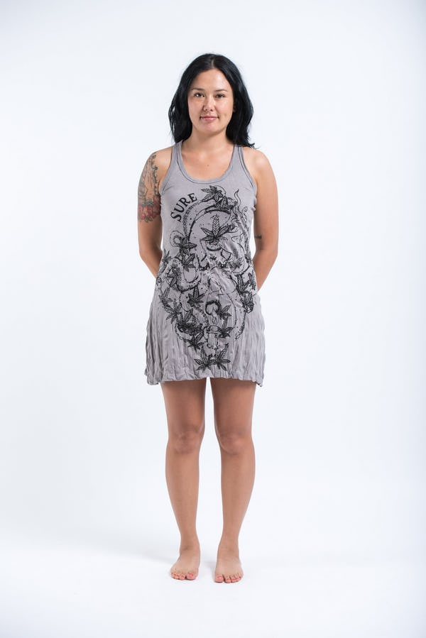 Sure Design Womens Octopus Weed Tank Dress Gray