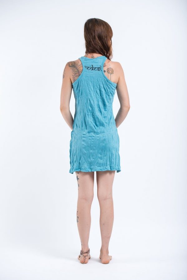 Womens Octopus Mandala Tank Dress in Turquoise