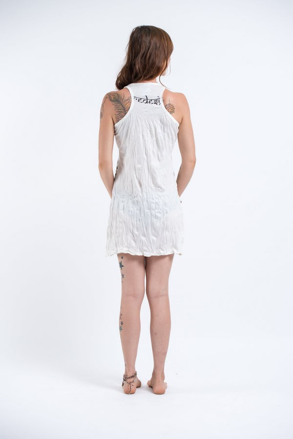 Sure Design Womens Octopus Weed Tank Dress White