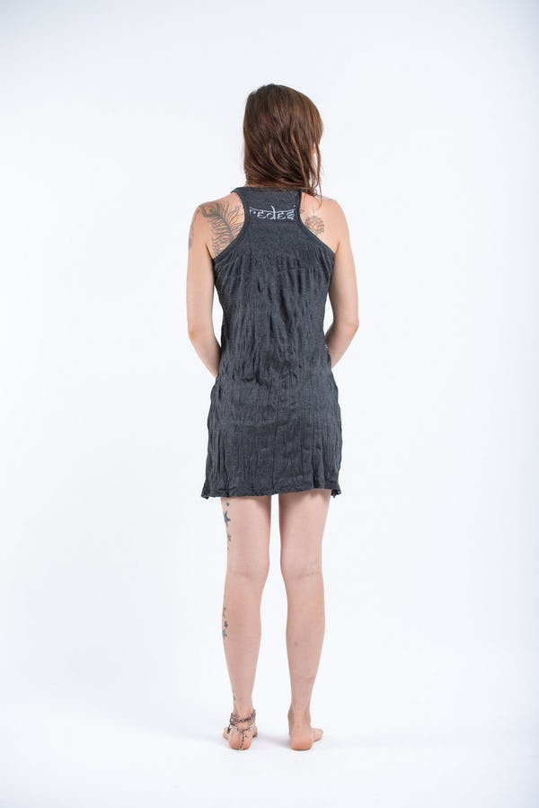 Sure Design Womens Octopus Weed Tank Dress Silver on Black