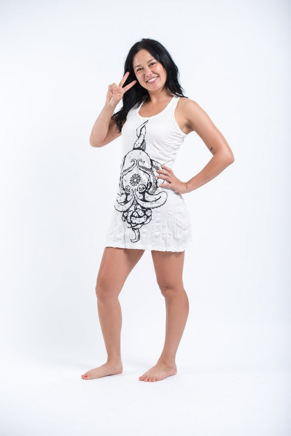 Sure Design Womens Octopus Mandala Tank Dress White