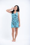Sure Design Womens Octopus Weed Tank Dress Turquoise