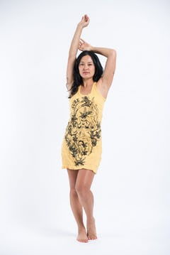 Sure Design Women's  Tie Dye Tank Dress Chakra Eye Tree Yellow