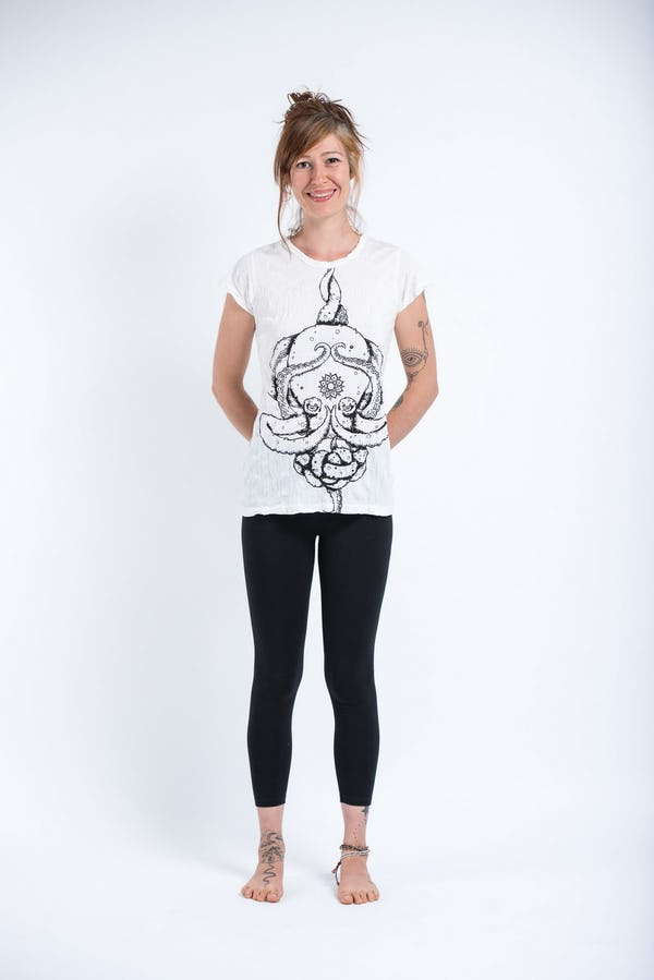 Sure Design Womens Octopus Mandala T-Shirt White