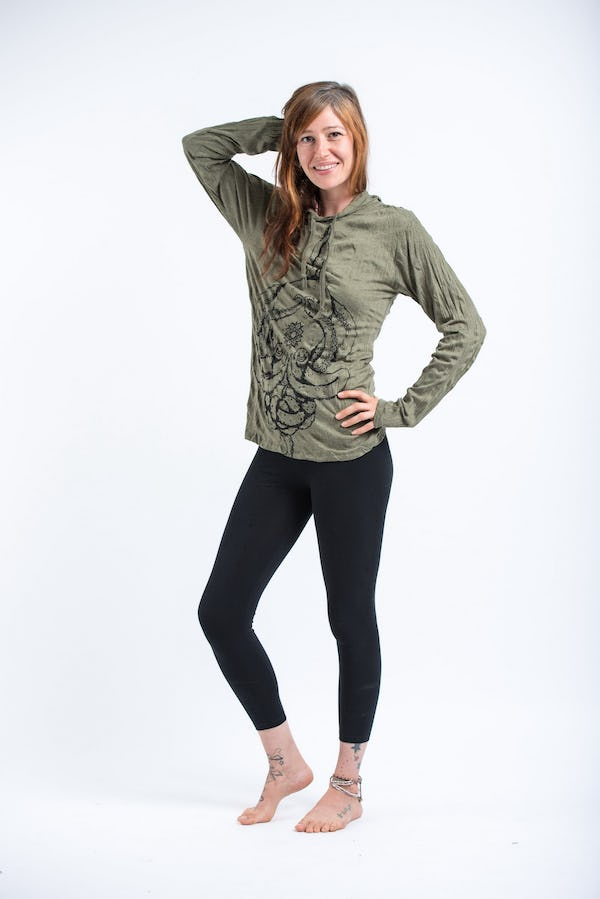 Sure Design Unisex Octopus Mandala Hoodie Green