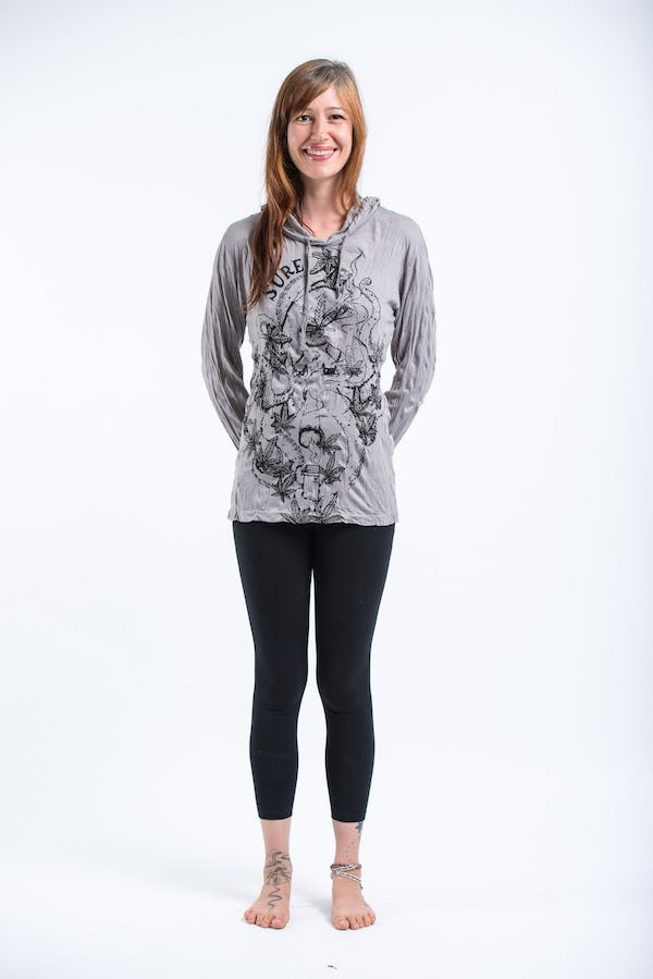 Sure Design Unisex Octopus Weed Hoodie Gray