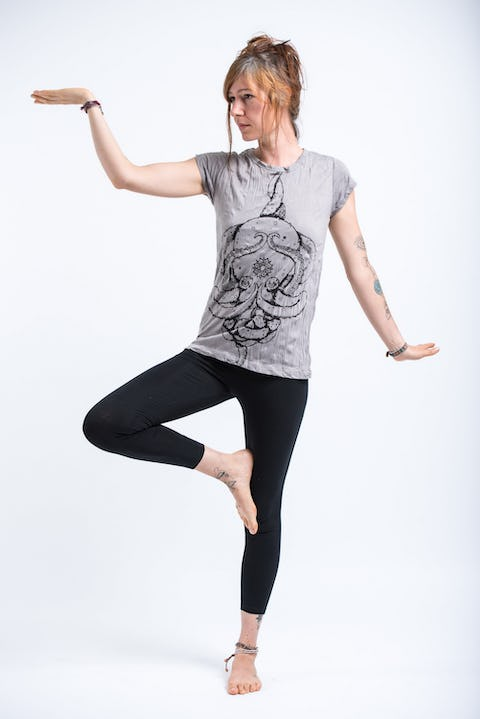 Sure Design Womens Octopus Mandala T-Shirt Gray