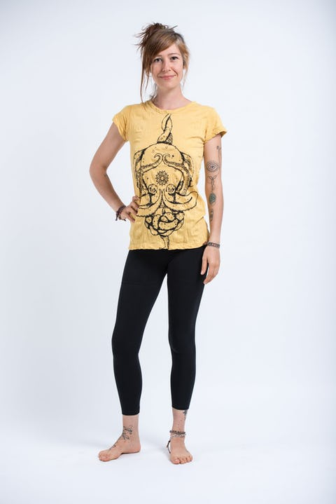 Sure Design Womens Octopus Mandala T-Shirt Yellow