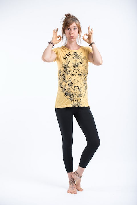 Sure Design Womens Octopus Weed T-Shirt Yellow