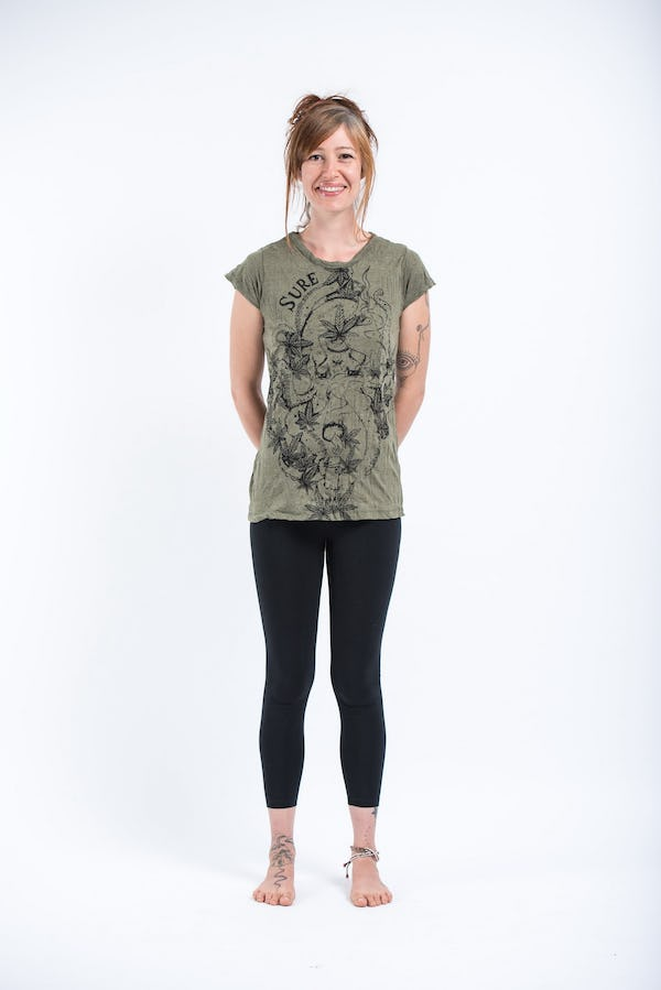 Sure Design Womens Octopus Weed T-Shirt Green