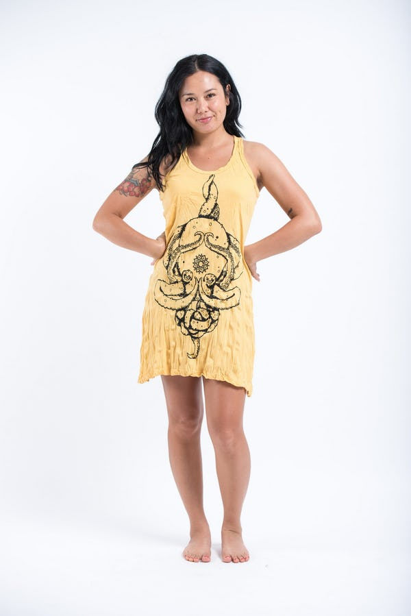 Sure Design Womens Octopus Mandala Tank Dress Yellow
