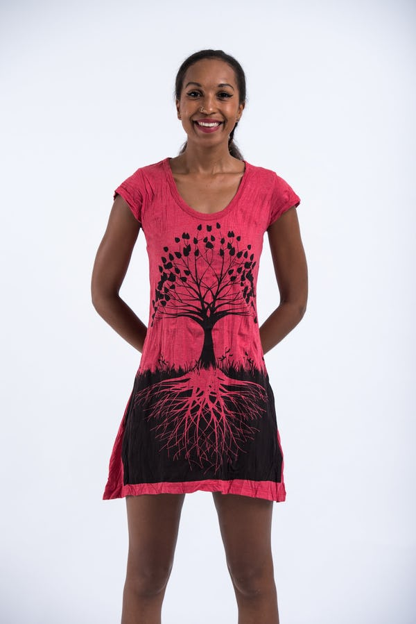 Womens Tree of Life Dress in Red