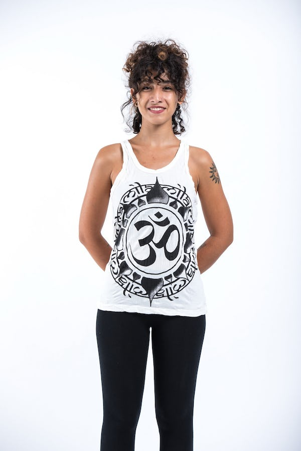 Sure Design Womens Infinitee Ohm Tank Top White