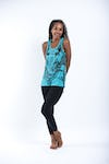 Sure Design Womens Big Face Ganesh Tank Top Turquoise
