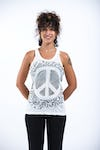 Womens Peace Sign Tank Top in White