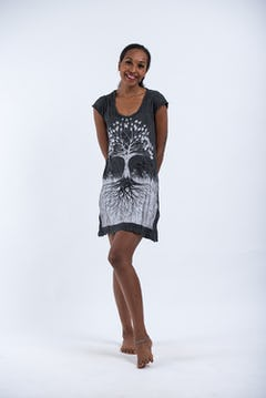 Womens Tree of Life Tank Dress in Silver on Black