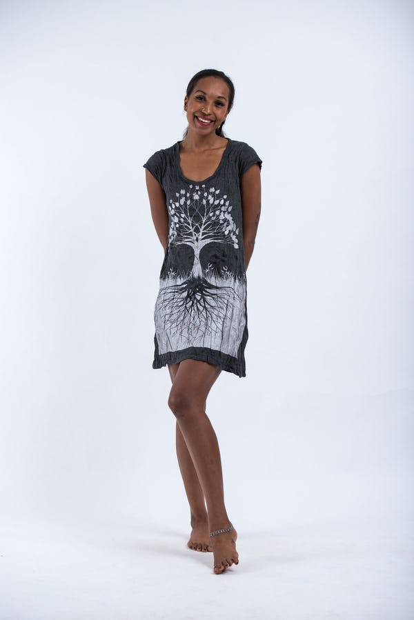 Sure Design Womens Tree of Life Dress Silver on Black