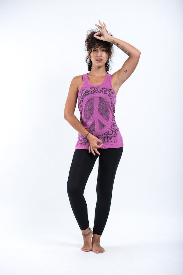 Sure Design Womens Infinitee Peace Sign Tank Top Pink