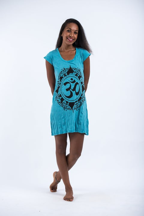 Womens Infinitee Om Dress in Turquoise