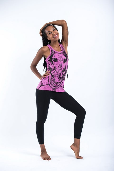 Sure Design Womens Big Face Ganesh Tank Top Pink