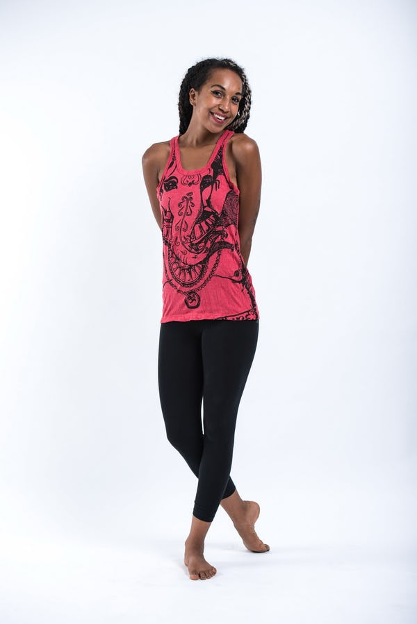 Sure Design Womens Big Face Ganesh Tank Top Red