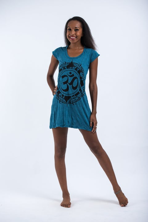 Womens Infinitee Om Dress in Denim Blue