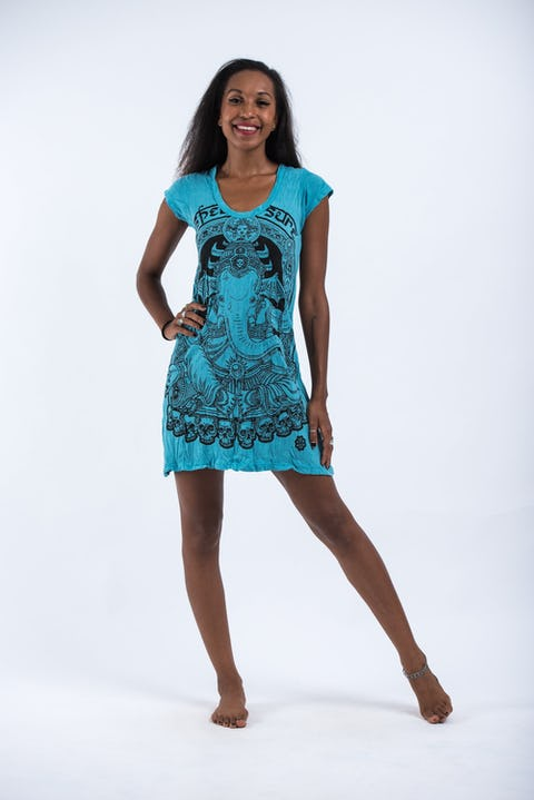 Womens Batman Ganesh Dress in Turquoise