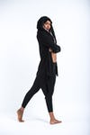 Wrap Around Hoodie Shawl in Black