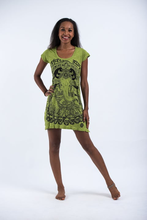 Sure Design Womens Batman Ganesh Dress Lime